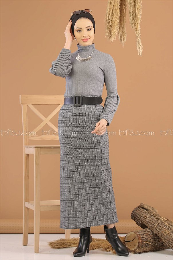 Blouse Skirt Combine D-1 Anthracite gray - 8253