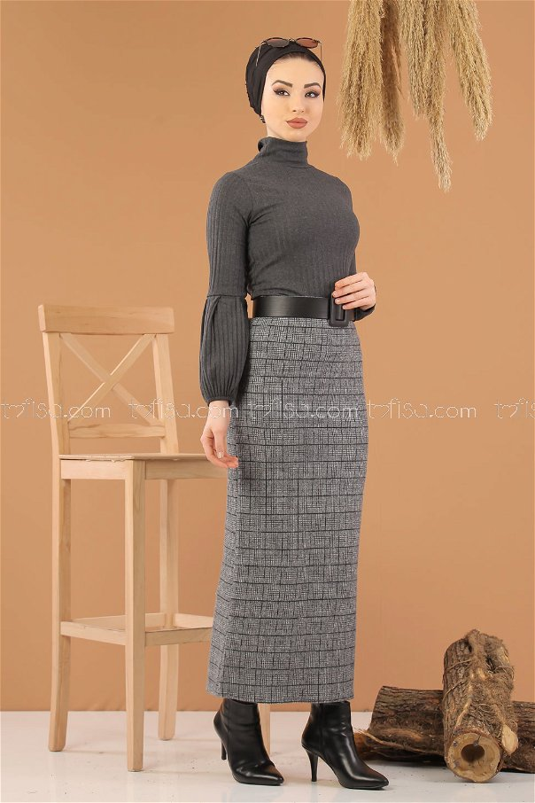 Blouse Skirt Combine D-2 gray - 8270