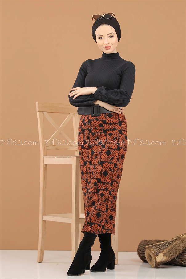 Blouse Skirt Combine Orange - 8309