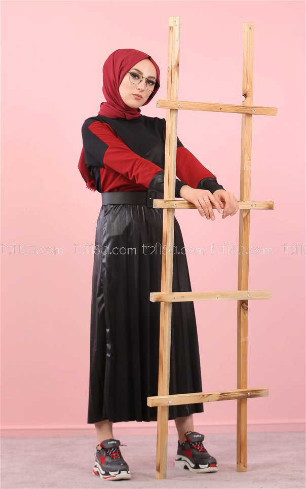 Blouse Skirt Pleat black claret red - 8311