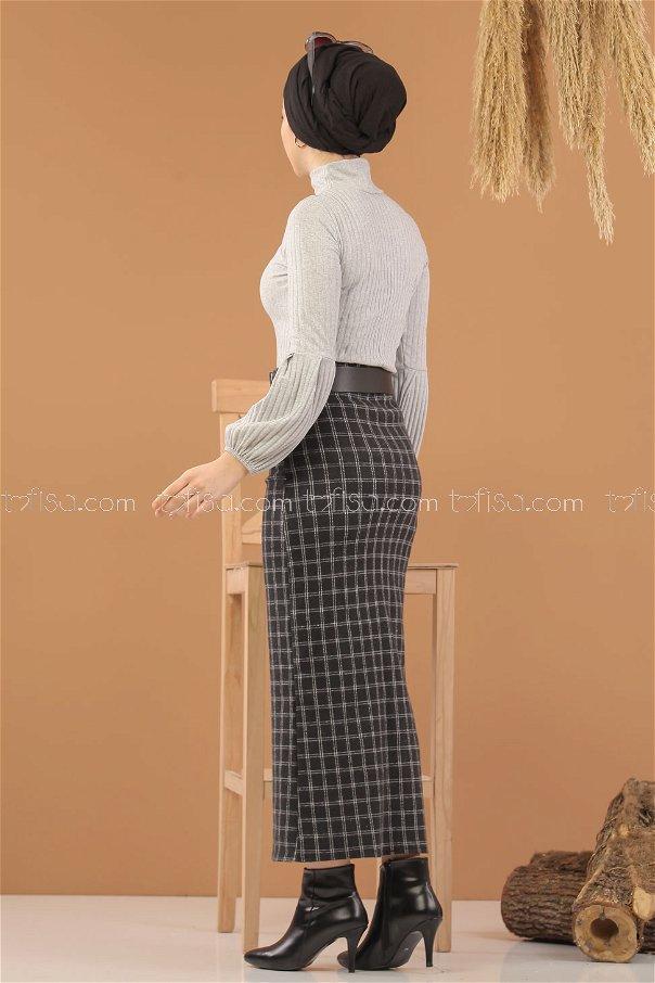 Bluz Etek Kombin Siyah Gri - 8275