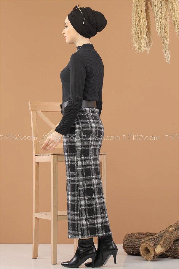 Bluz Etek Kombin D-1 Siyah Beyaz - 8295