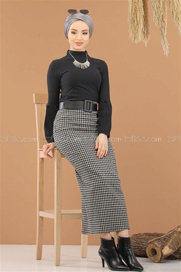 Bluz Etek Kombin Siyah Beyaz - 8295