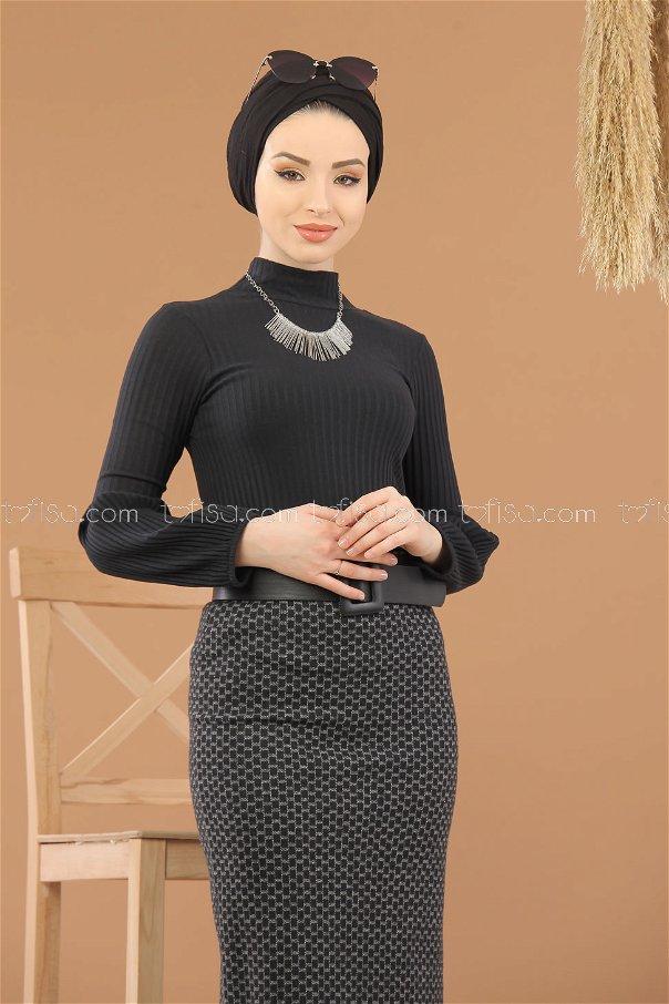 Bluz Etek Kombin Siyah Gri - 8295