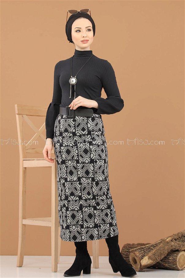 Bluz Etek Kombin Siyah Gri - 8309