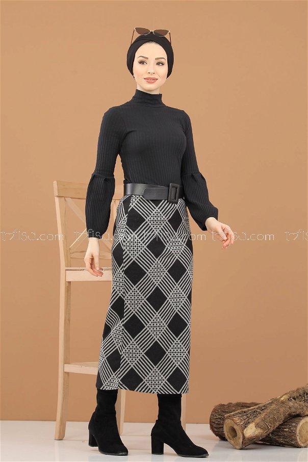 Bluz Etek Kombin Siyah - 8309