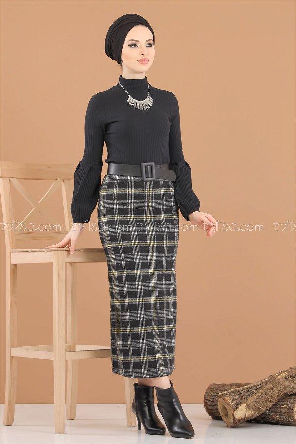 Bluz Etek Kombin Hardal Siyah - 8312