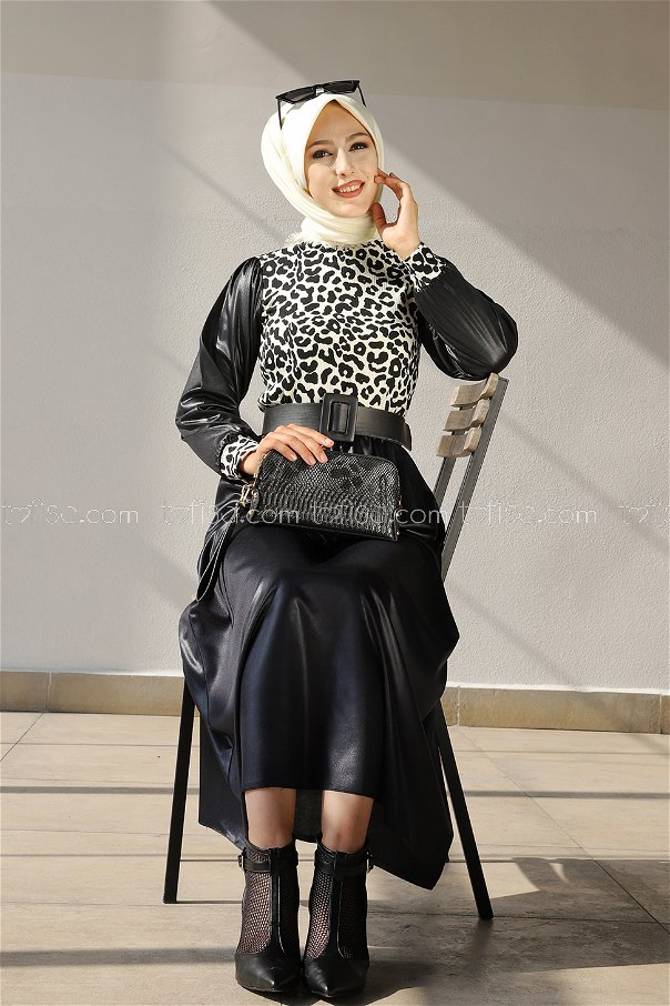 Bluz Etek Siyah Beyaz - 3334