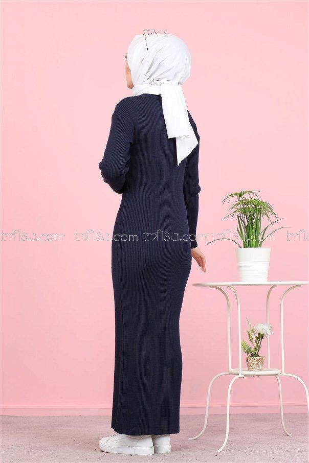 Bogazlı Triko Elbise Lacivert - 8142