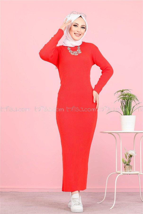 Bogazlı Triko Elbise Nar Çiçegi - 8142