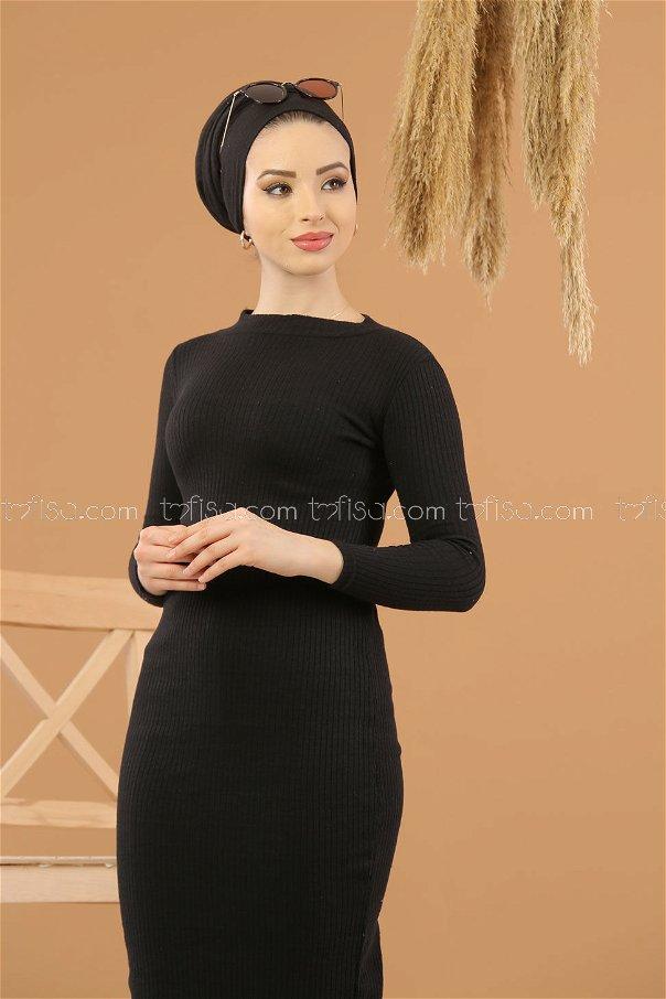 Bogazlı Triko Elbise Siyah - 8262