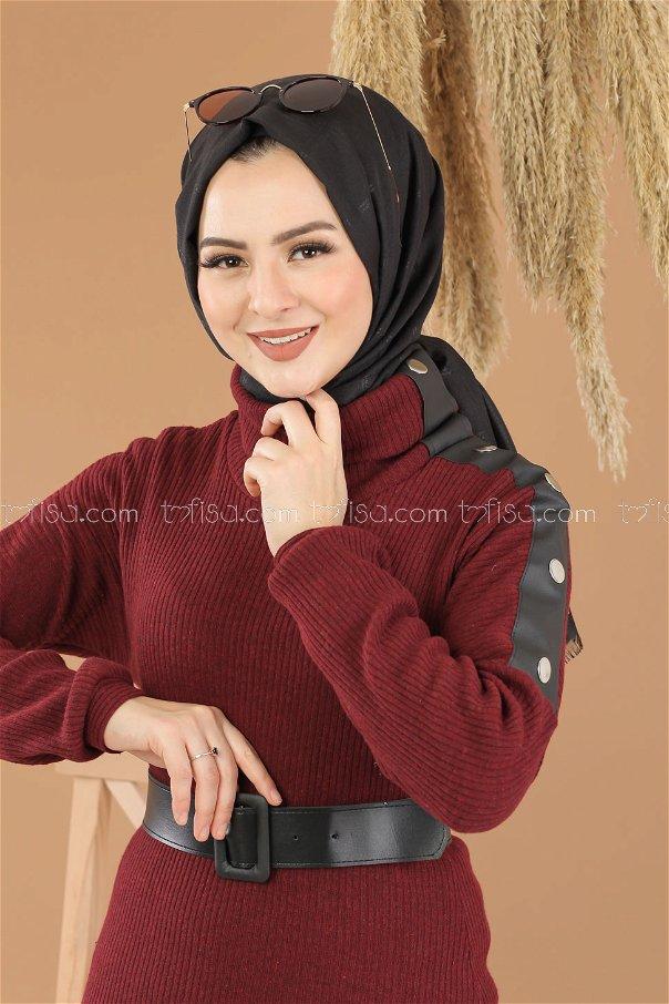 Bogazlı Triko Elbise Kemer Bordo - 8292