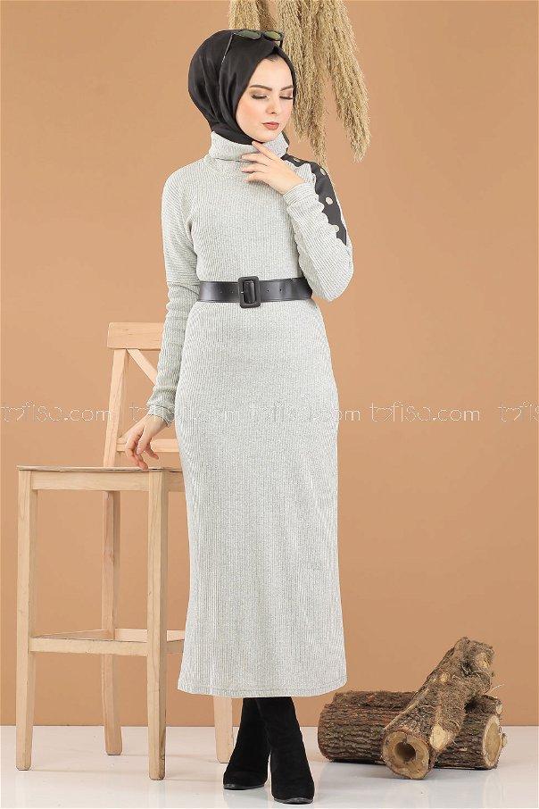 Bogazlı Triko Elbise Kemer Gri - 8292