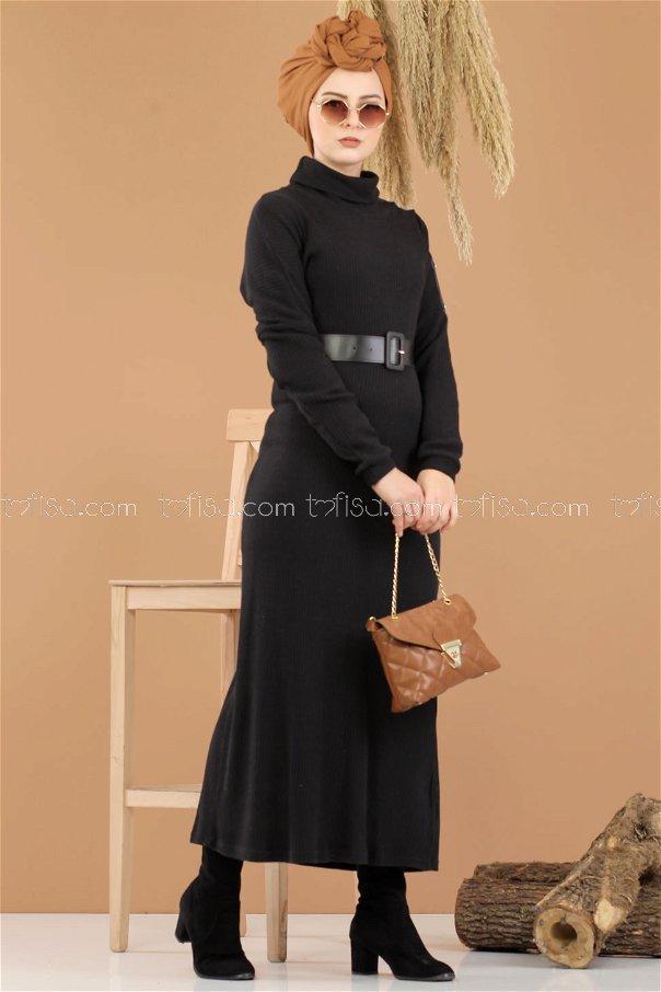 Bogazlı Triko Elbise Kemer Siyah - 8292
