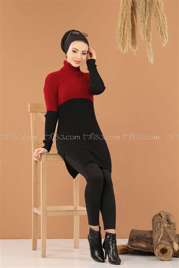 Bogazlı Triko Tunik Siyah Bordo - 8274