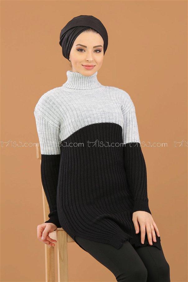 Bogazlı Triko Tunik Siyah Gri - 8274