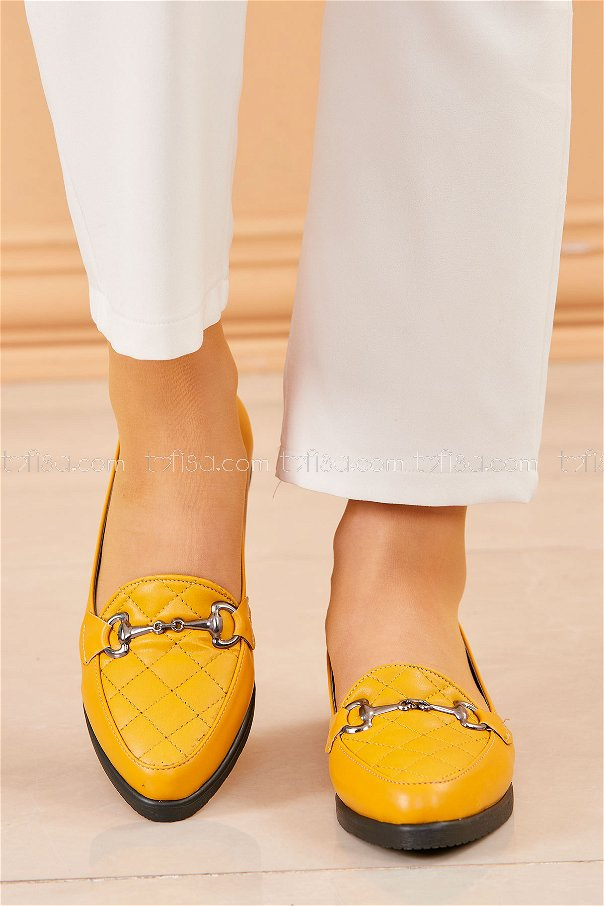 Buckled Flat Shoes MUSTARD - 20411