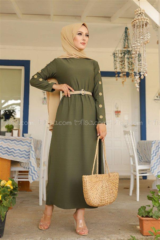 Button Detail Dress Khaki - 2789