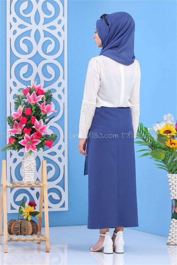 Button Dress Skirt - Blue - 7478