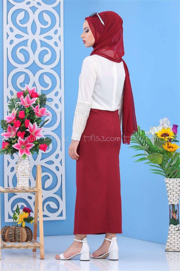 Button Dress Skirt - Claret Red - 7478