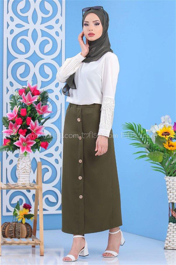 Button Dress Skirt - Khaki - 7478