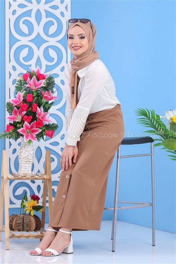 Button Dress Skirt - Mink - 7478
