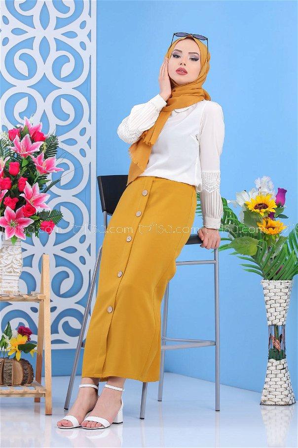 Button Dress Skirt - Mustard - 7478