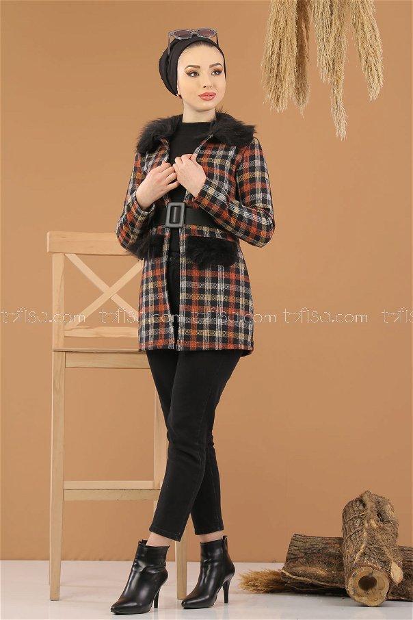 Cardigan Details Fur Orange - 8279