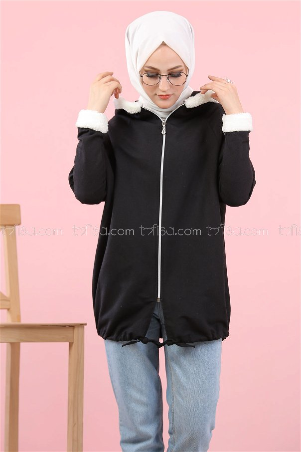 Cardigan Hooded black - 8114