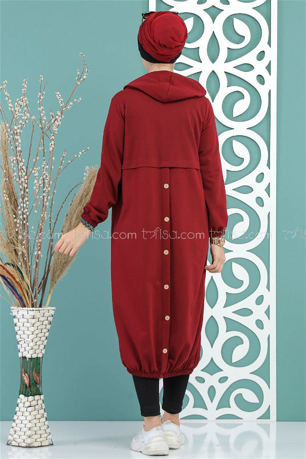 Cardigan Hooded button claret red - 02 7692