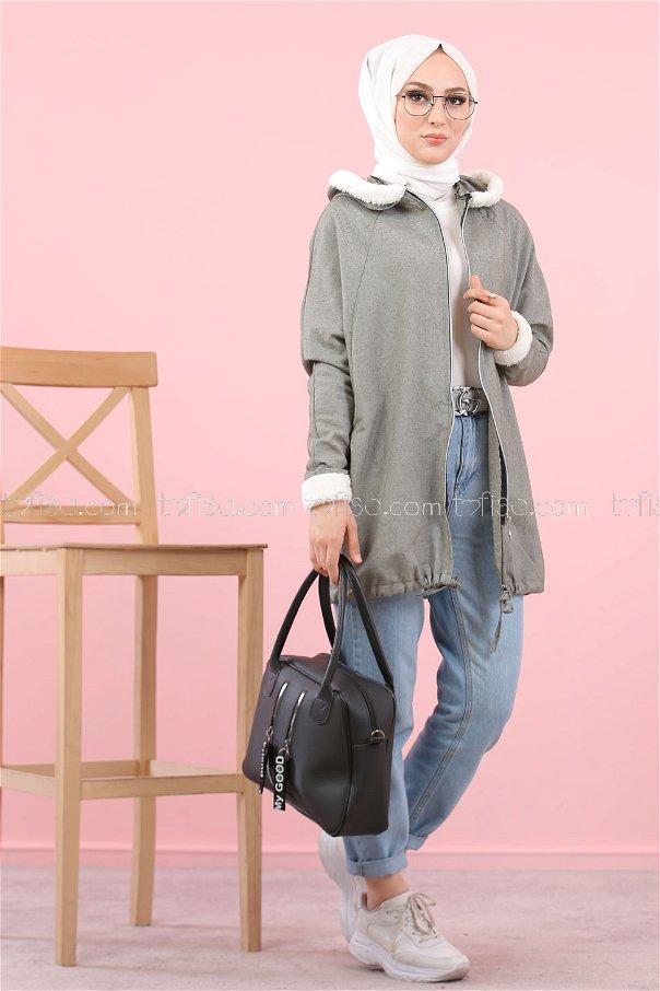Cardigan Hooded khaki - 8114