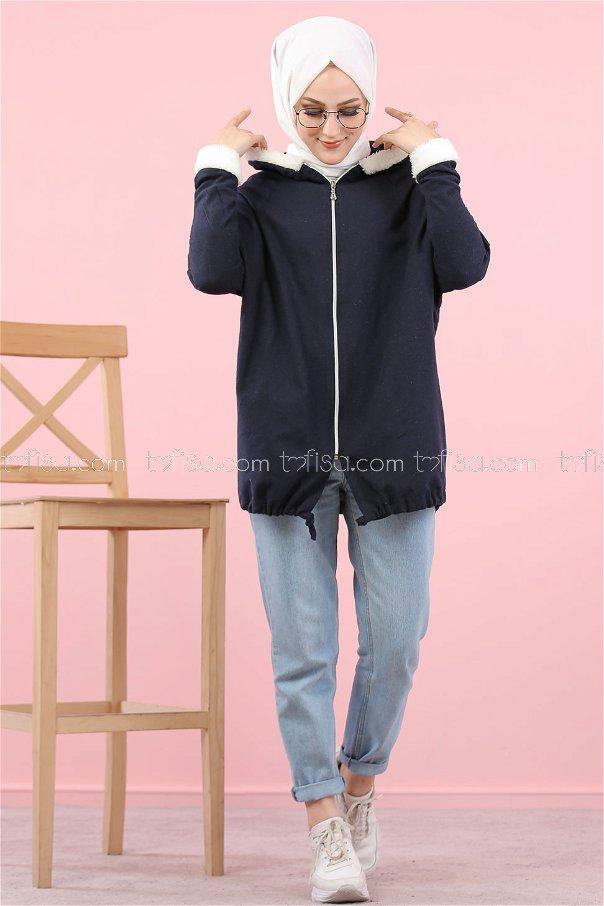 Cardigan Hooded navy blue - 8114