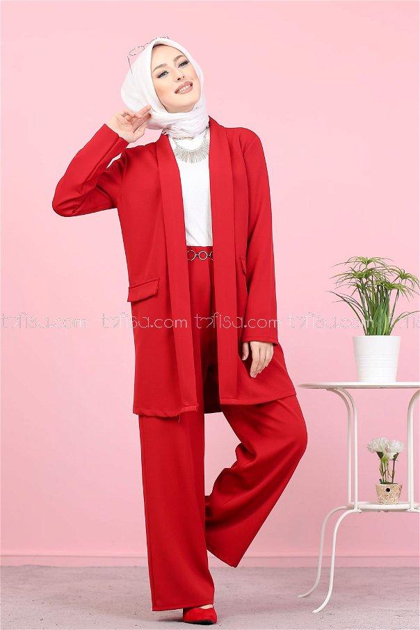 Ceket Pantolon Kırmızı - 8398