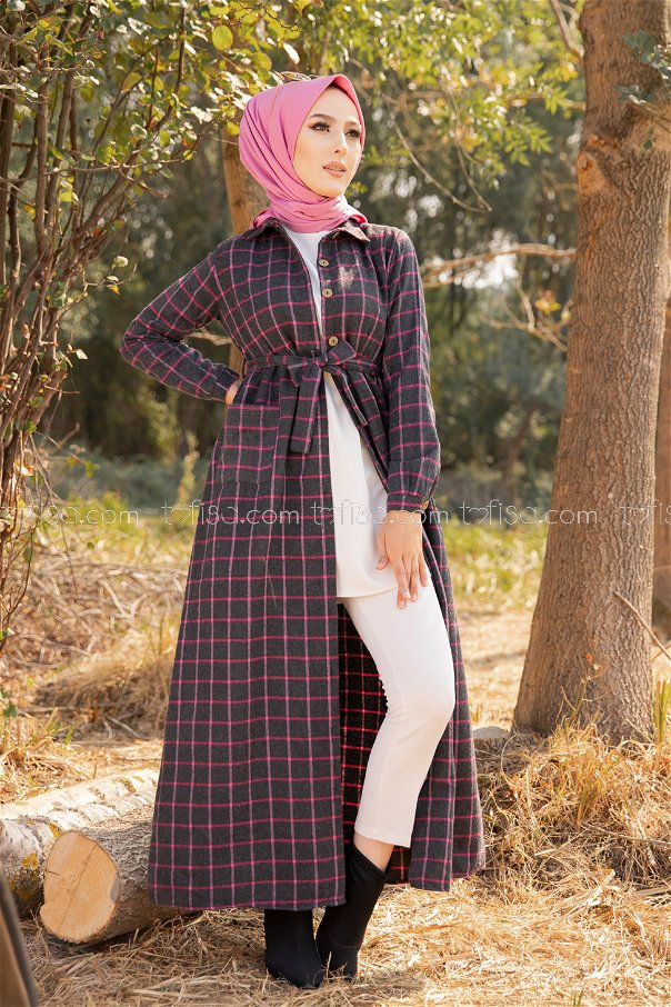 Cepli Elbise Antrasit Fusya - 3301