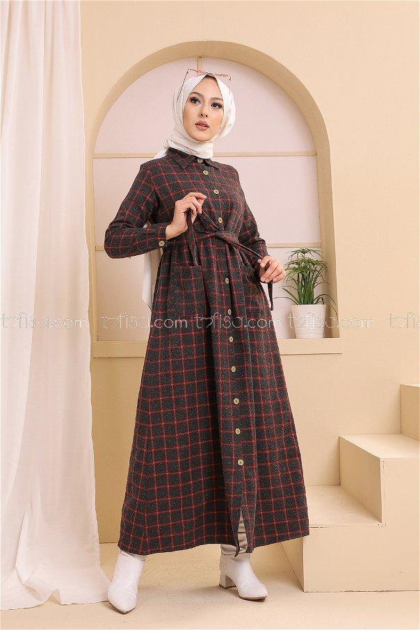Cepli Elbise Antrasit Kırmızı - 3301