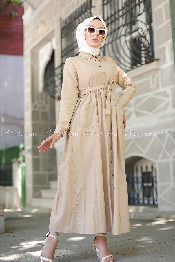 Cepli Elbise Bej - 2696