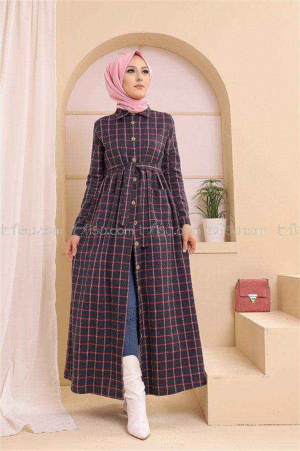 Cepli Elbise Füme Fuşya - 3301