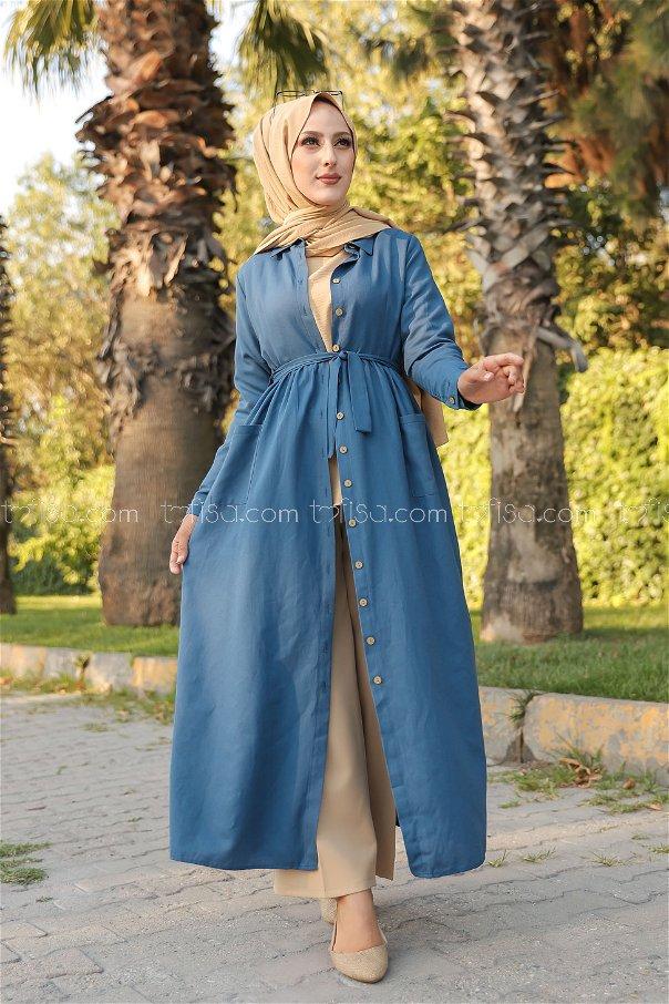 Cepli Elbise İndigo - 2696