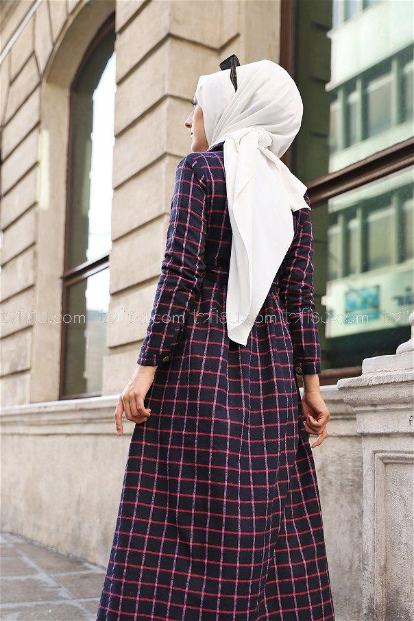 Cepli Elbise Lacivert Fuşya - 3301