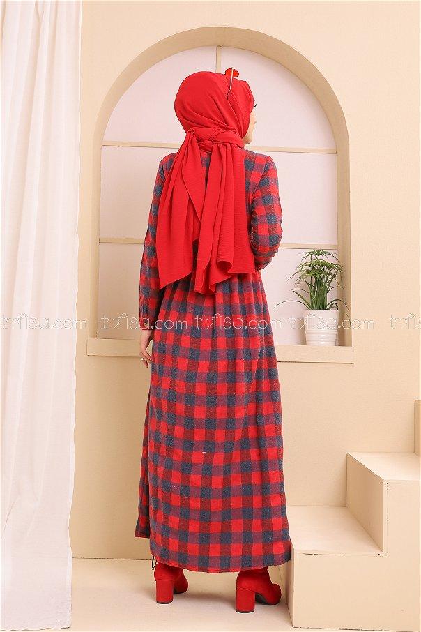 Cepli Elbise Lacivert Kırmızı - 3301