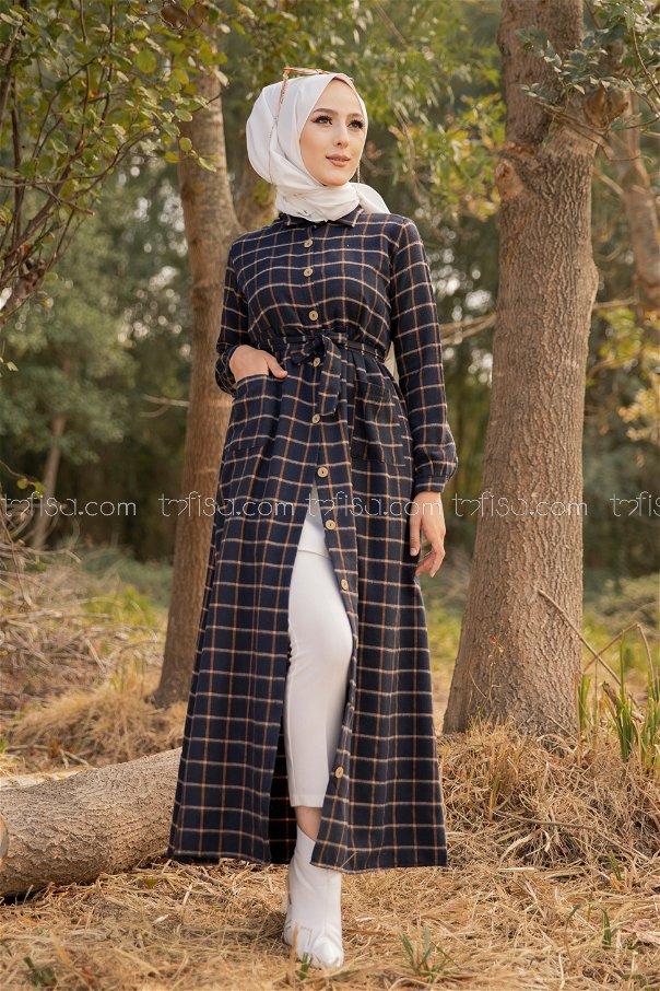 Cepli Elbise Lacivert Taba - 3301