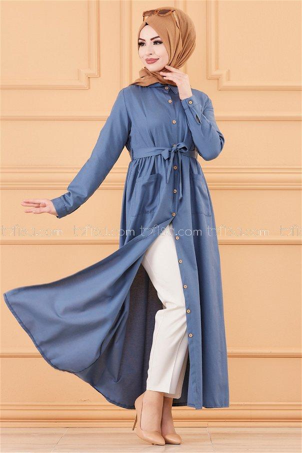 Cepli Elbise Mavi - 2696