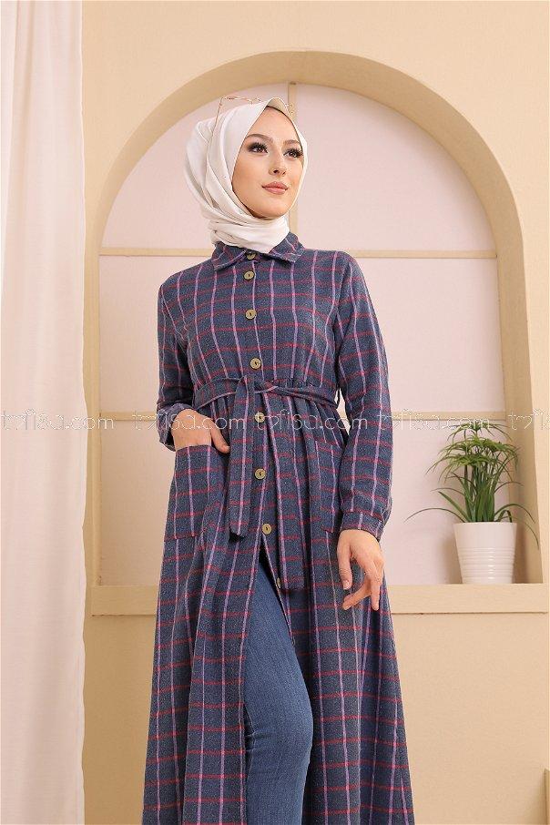 Cepli Elbise Mavi Fuşya - 3301