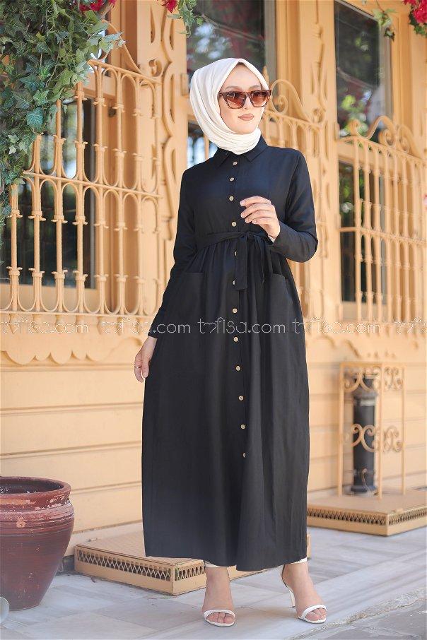 Cepli Elbise Siyah - 2696