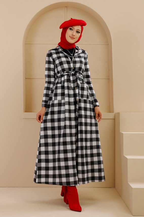 Cepli Elbise Siyah Beyaz - 3301
