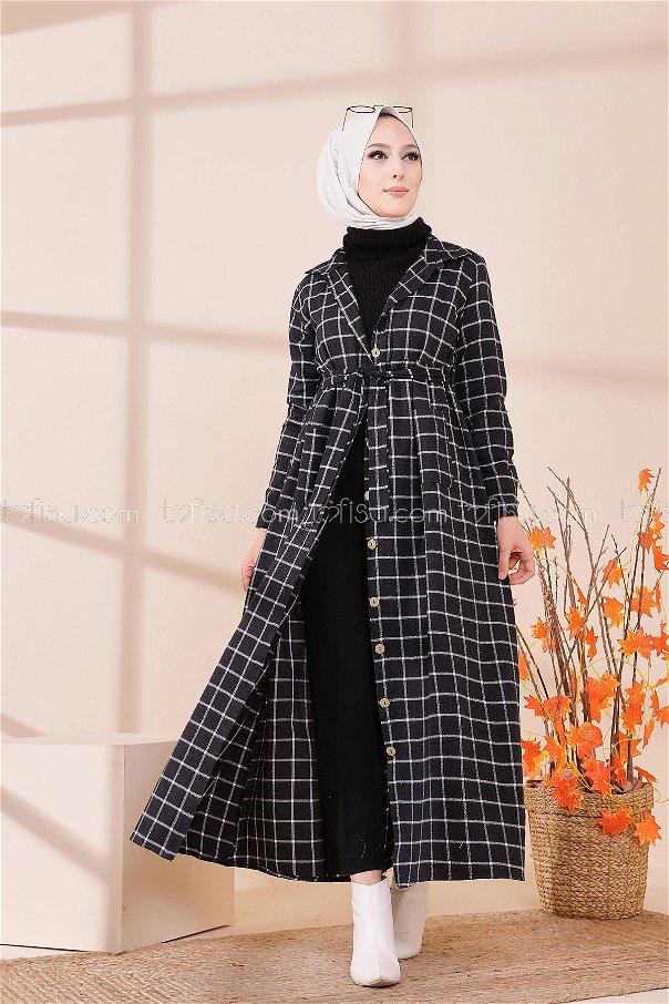 Cepli Elbise Siyah Ekru - 3301