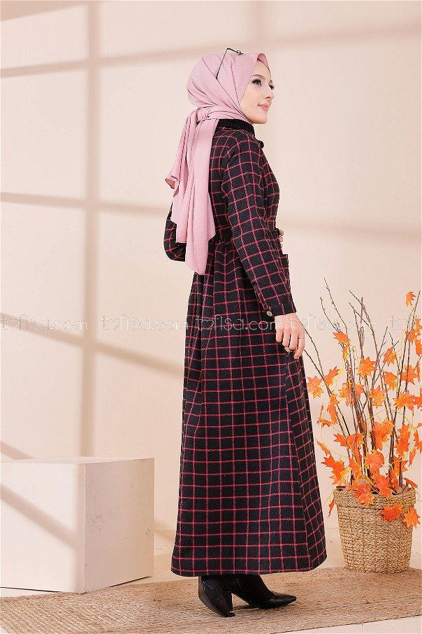 Cepli Elbise Siyah Fuşya - 3301