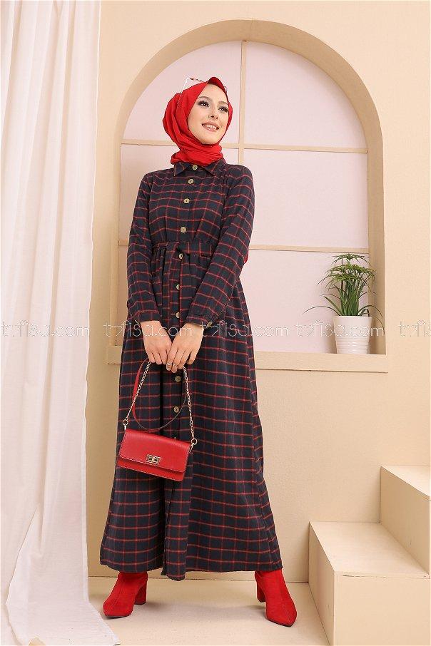 Cepli Elbise Siyah Kırmızı - 3301