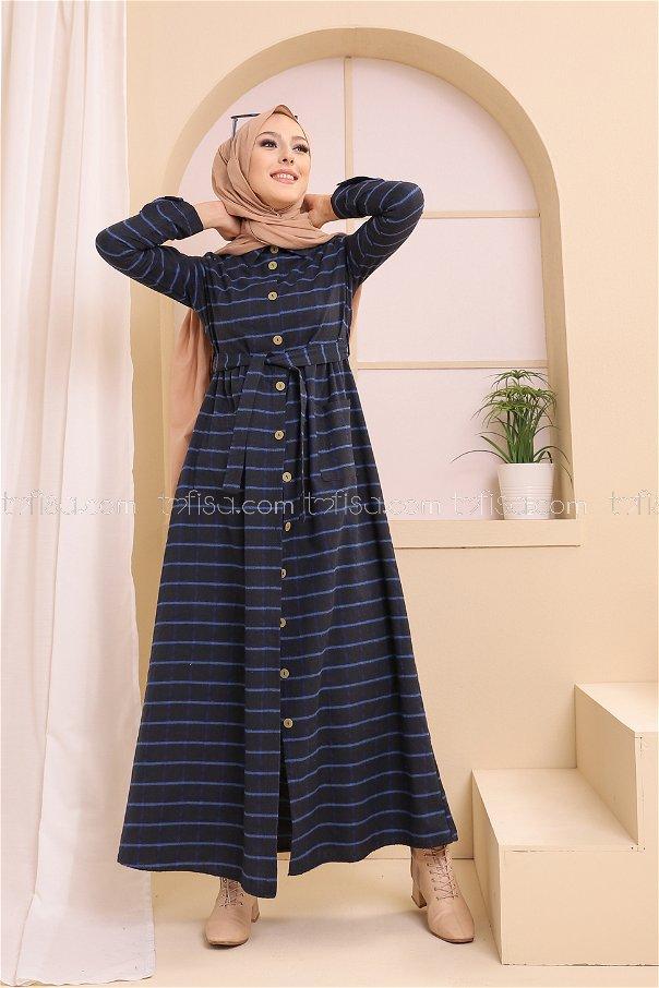 Cepli Elbise Siyah Saks - 3301