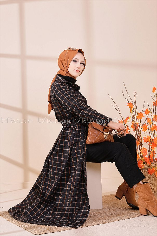 Cepli Elbise Taba Siyah - 3301